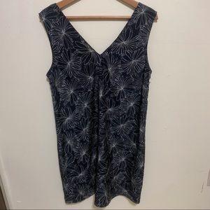 Halogen Black Slip Dress w/ Floral Design